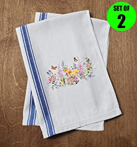Classic Kitchen Towels Beautiful Flowers Monarch Butterfly Nature Wildlife Lavender Daisy Garden Funny Dish Towels with Sayings Set of 2 Multipurpose Blue Stripe Towel