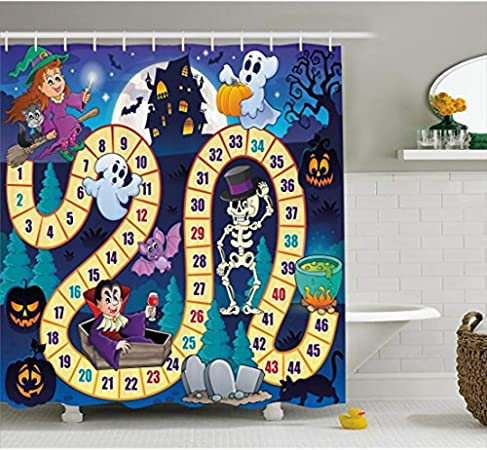 Cortina de ducha Yeuss para juegos de mesa, con diseño de Halloween con símbolos de bruja