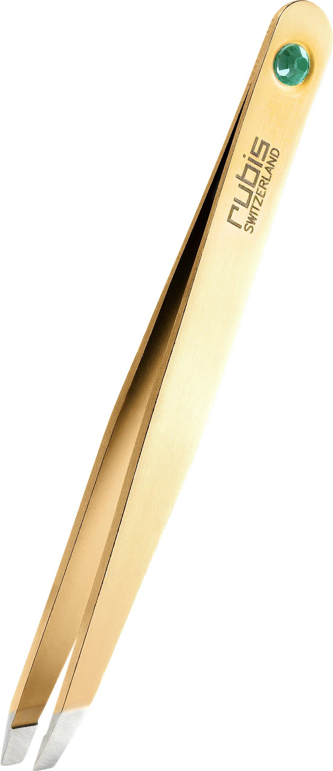 Rubis Gold Tweezers with Swarovski Emerald - 1K1905