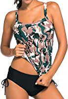 Eiffel Women's 2pcs Swing Tankini Top Swimsuit Shirred Bandeau Swimdress with Triangular Bottom
