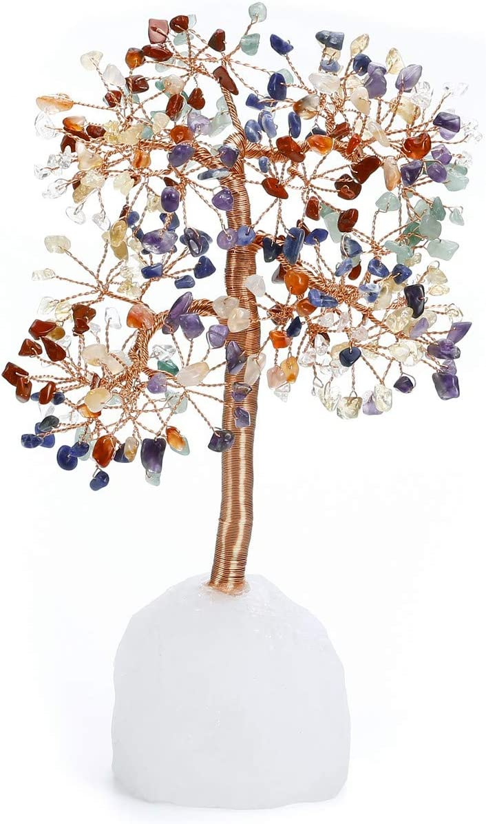 CrystalTears Chakra Healing Crystal Money Tree Feng Shui Crystal Bonsai Tree Ornament Natural Tumbled Gemstone Tree Figurine Sculpture with Rock Quartz Crystal Cluster Base Home Decor Healing Gift