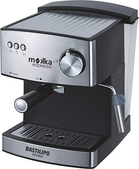 Bastilipo Mokka Expreso 20 Cafetera Express, 850 W, 1.6 litros, Acero Inoxidable, Negro/Plata