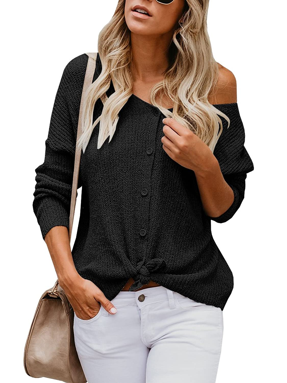 5a435d01072 Wear it tied at the bottom or untied!Button up the front shirts for women. Womens casual crew neck long sleeve spring fall knitwear tops.