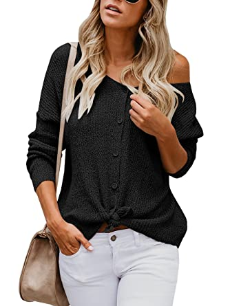 Womens Sweaters Off The Shoulder Tie Front Button Down Knit Jumper Top  Cardigan Sweater Black 3e39477e0