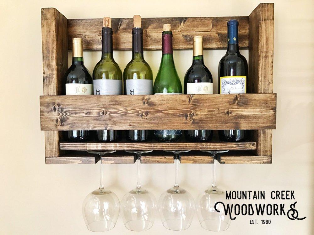 Mountain Creek Woodworks Rustic Georgia White Pine Wine Bottle Shelf & Glass Rack by