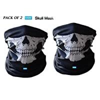 Nikavi NKV2SKUL1 Seamless Skull Face Tube Mask (Black, Set of 2)