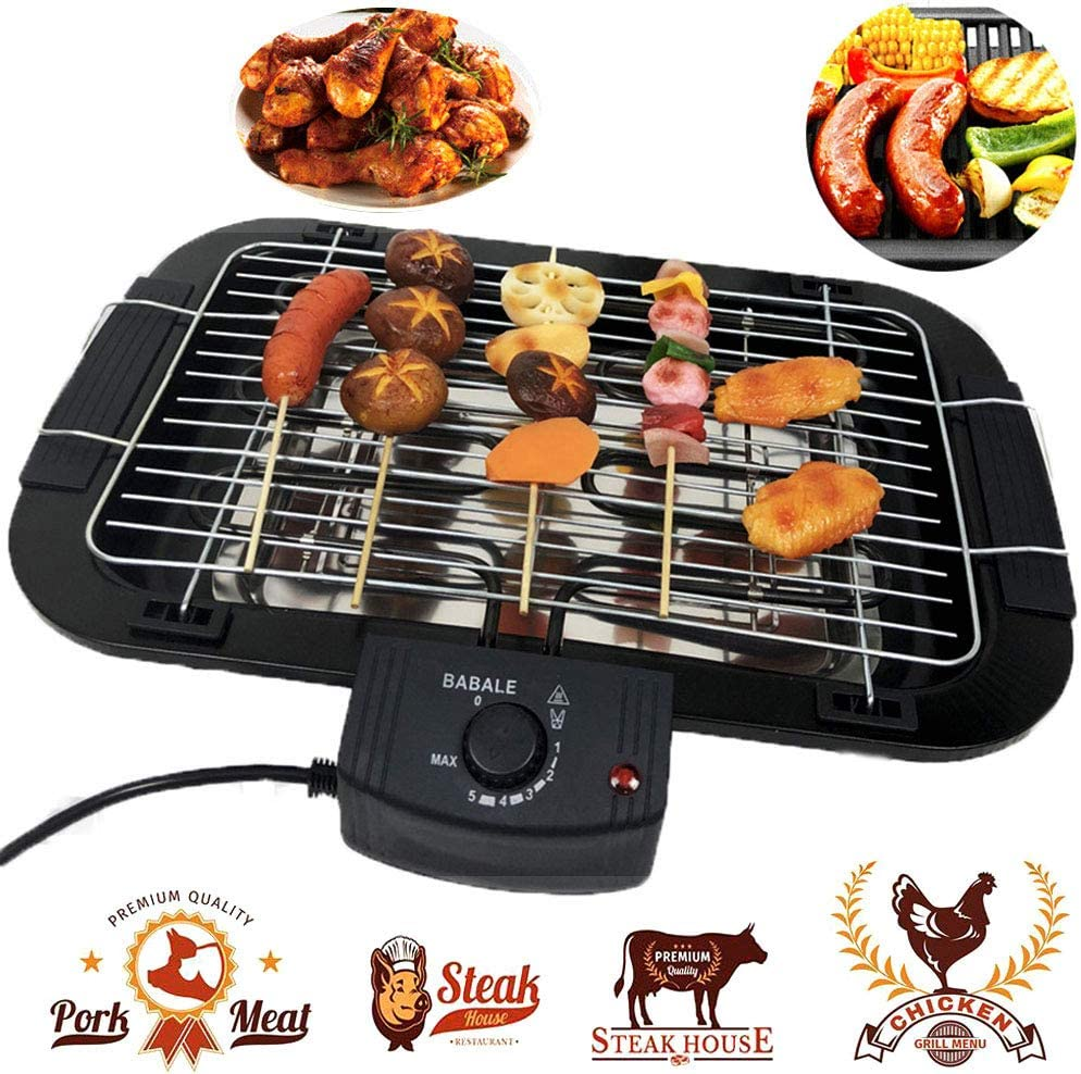 Beini Smokeless Indoor/Outdoor Electric Grill,Household Smoke Free Electric Grill,Portable Tabletop Grill Kitchen BBQ Grills,Adjustable Temperature Control,Removable Water Filled Drip Tray,2000 W,Black