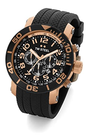 fe3e5e7ec641 Amazon.com  TW Steel Men s TW92 Grandeur Diver Black Rubber ...