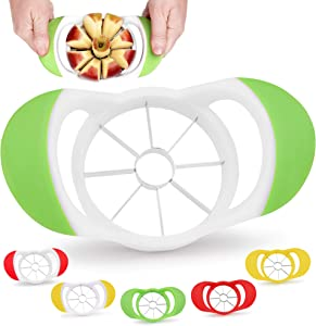 Zulay 8 Blade Apple Slicer - Easy Grip Apple Cutter With Stainless Steel Blades - Fast Usage Apple Corer And Slicer Tool That Saves Time & Effort (Green & White)