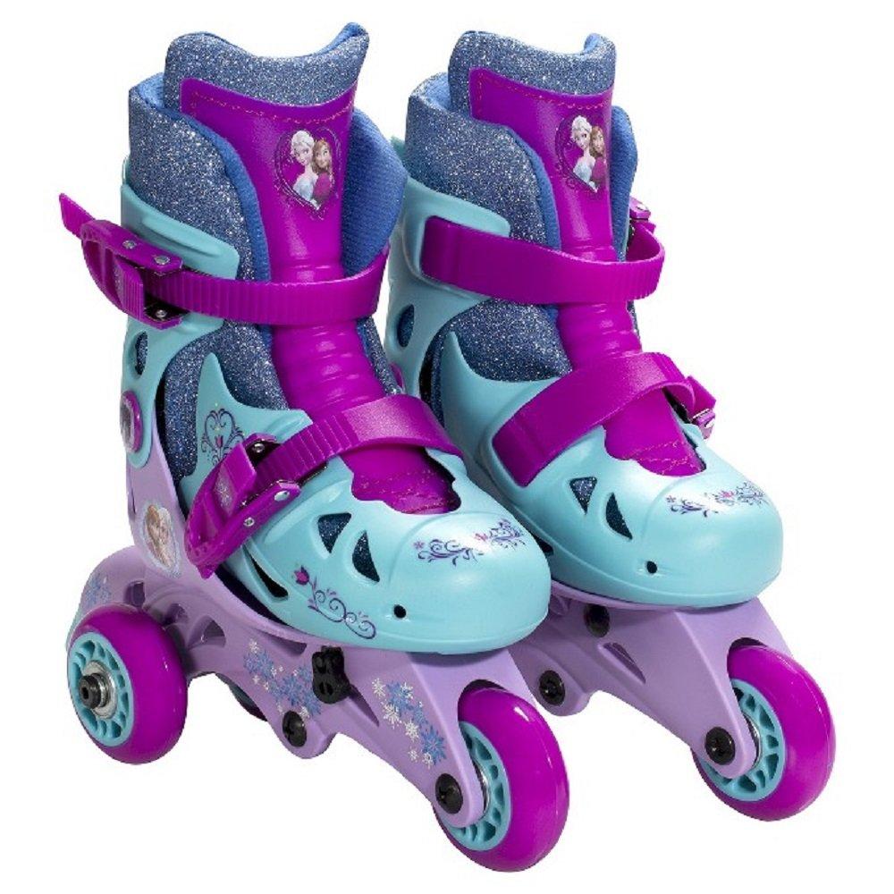 Roller skate shoes penang - Amazon Com Disney Frozen Adjustable 2 In 1 Convertible Glitter Trainer Skates Rollerblades W Wrist Guards Ages 3 6 Size Range J6 J9 Sports Outdoors