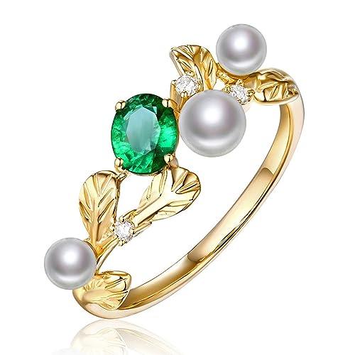 Epinki 18k Oro Anillos para Mujer Hoja Anillos de Perlas Anillo Propuesta Matrimonio Anillo de Diamante