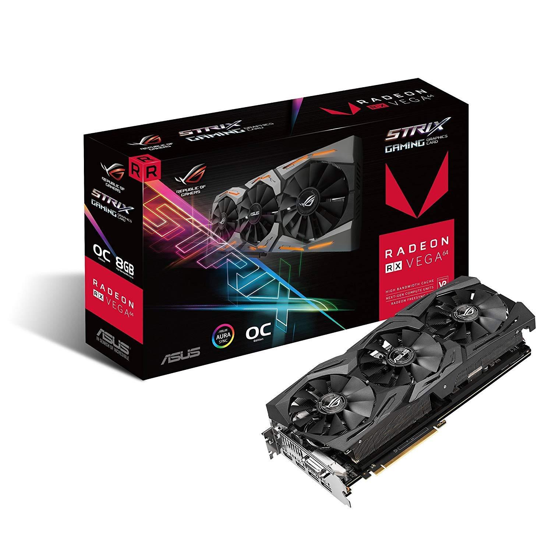 ASUS Radeon RX Vega 64 8GB Overclocked 2048-Bit HBM2 PCI Express 3 0 HDCP  Ready Video Card (STRIX-RXVEGA64-O8G-GAMING)