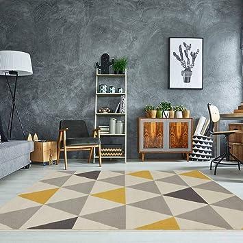 Milan Ochre Mustard Yellow Grey Beige Harlequin Triangles Traditional Living  Room Rug 80cm X 150cm