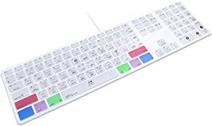 HRH for Apple iMac G6 MB110LL/B MB110LL/A A1243 Keyboard with Numeric Keypad NumberPad Print: Apple Logic Pro X Functional Shortcuts Hot Keys Design Silicone Keyboard Skin Cover [US/EU Layout]
