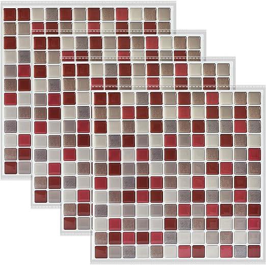Amazon Com Shingone Peel Stick Tiles Backsplash Wallpaper Self Adhesive Removable Tile Wall Stickers For Bathroom Kitchen 3d Mosaic Tile Sticker Decor Set Of 4 9 3 X 9 3 Red Kitchen Dining