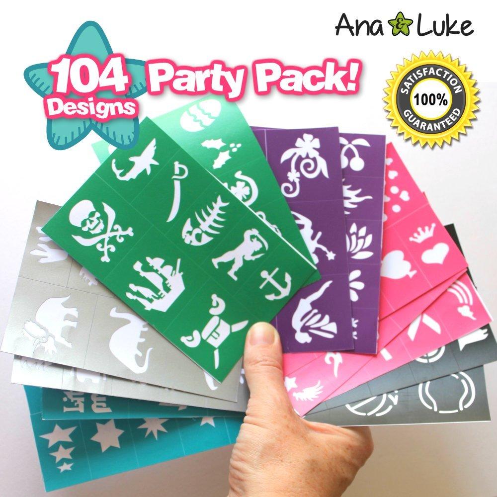 Kit de plantillas de 104 para pintar la cara. Diseños artísticos corporales para niños, niñas, chicos. Sirena, estrella, unicornio, superhéroe para eventos, ...