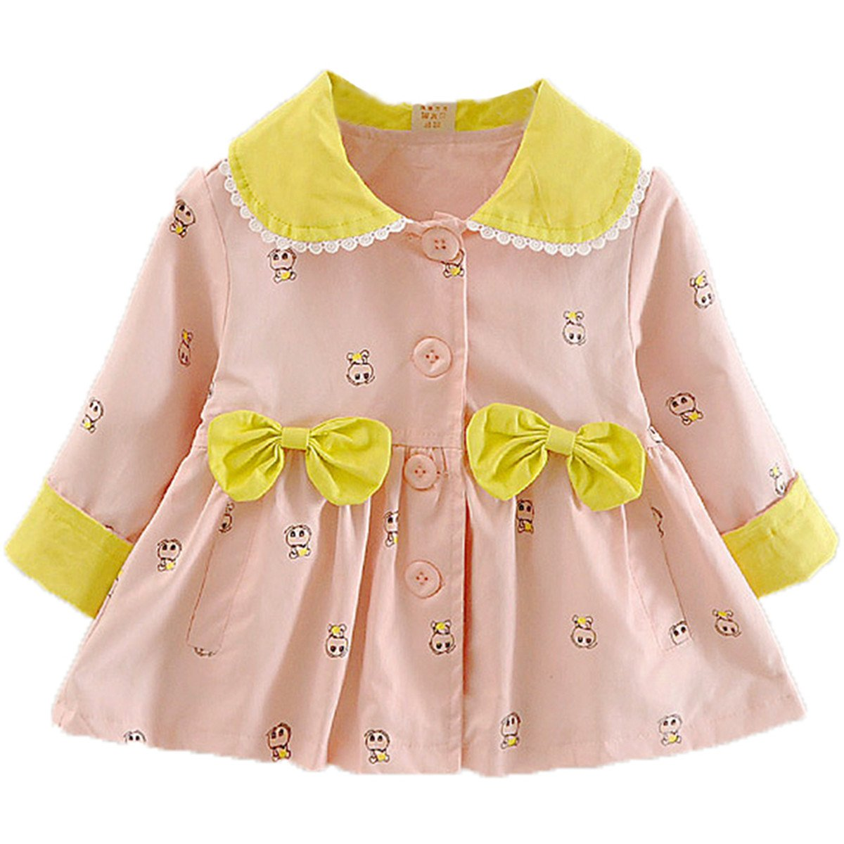 Baby Kid Little Girls Spring Autumn Fashion Bowknot Front Button Trench Coat Jacket