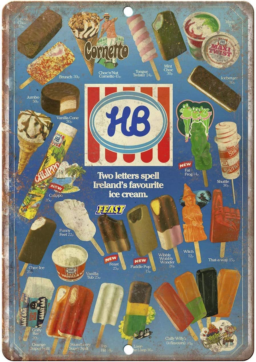 Bit SIGNSHM Hb Ice Cream Ireland 80'S Menu Retro Metal Tin Sign Plaque Poster Wall Decor Art Shabby Chic Gift Suitable for Indoor/Outdoor 12x8 Inch
