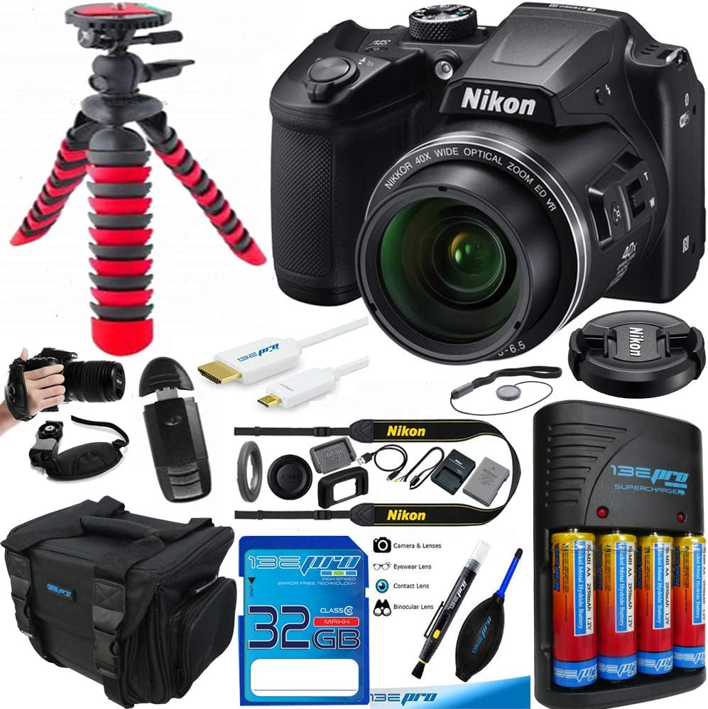 Nikon COOLPIX B500 Digital Camera (Black) - Essential Accessories Bundle