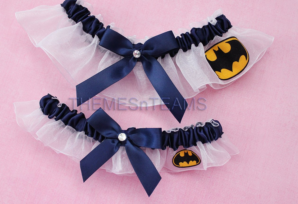 Customizable handmade - White & Navy Blue - Batman fabric handcrafted keepsake bridal garters wedding garter set tnt