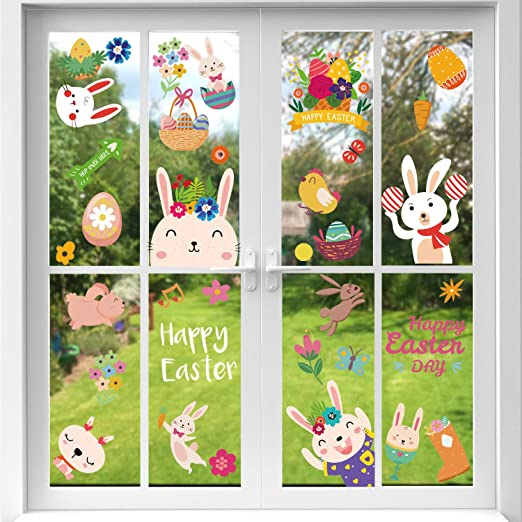 VEYLIN 6Sheets 80Pcs Easter Eggs Window Clings Removable Eggs Window Static Sticker for Easter Window Decoration