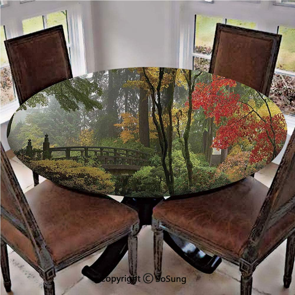 Elastic Edged Polyester Fitted Table Cover,Wet Wooden Bridge at Portland Japanese Garden Oregon in Autumn with Various Trees,Fits up 40