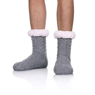 d9f76de5253 Brinny 1 Paires Chaussettes en Lain Homme Fille Hiver épais Chaussette à La  Maison Chaussons Chaussettes