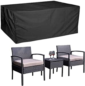 3 Pieces Patio Cover Patio Conversation Set Covers Patio Furniture Sets Covers Conversation Set Outdoor Cover Outdoor 3 Piece Furniture Cover Rectangular Water Proof Windproof Dust 63×26×32inch