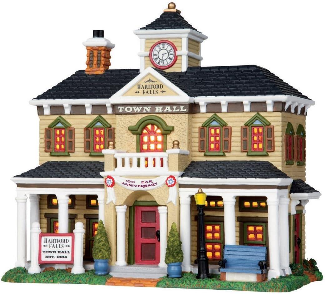 Lemax Village Building Hartford Falls Town Hall 9 H X 8 W X 5.25 D