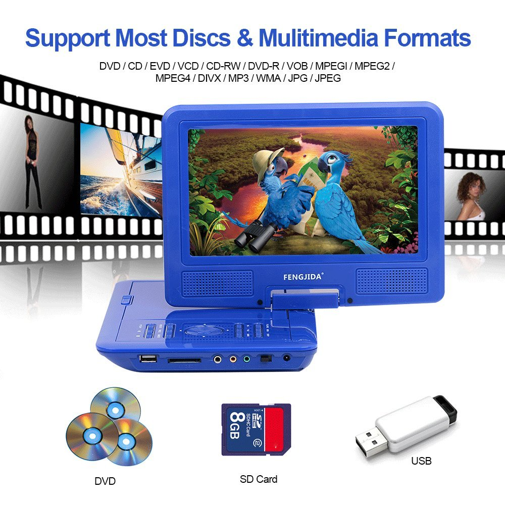 FENGJIDA 9.5\'\' Portable DVD Player, Car DVD Player Headrest Mount, Swivel Screen, Built-in Rechargeable Battery, Remote Control, SD Card Slot USB Port - Blue