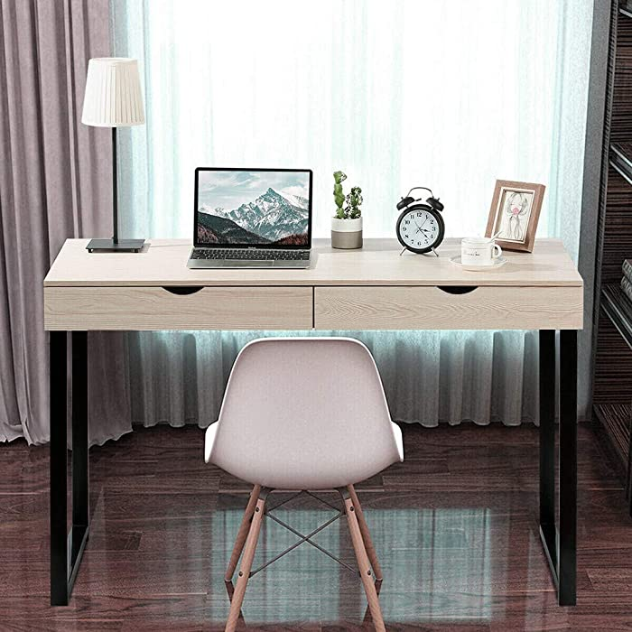 MORRAN Modern Computer Desk, Computer Table Laptop Office Desk Study Table Workstation with 2 Drawers for Home Office (White)