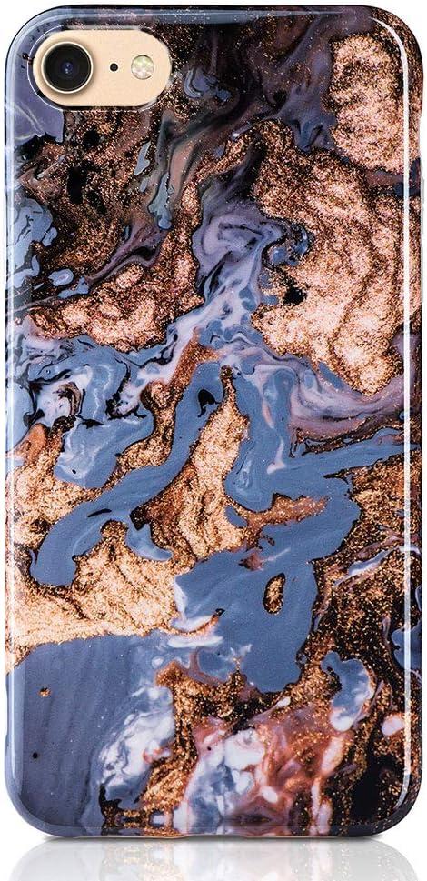 Qult Carcasa para Móvil Compatible con iPhone 8 Plus iPhone 7 Plus Funda marmol Azul Silicona Flexible Bumper Teléfono Caso iPhone 7/8 Plus Marble Blue