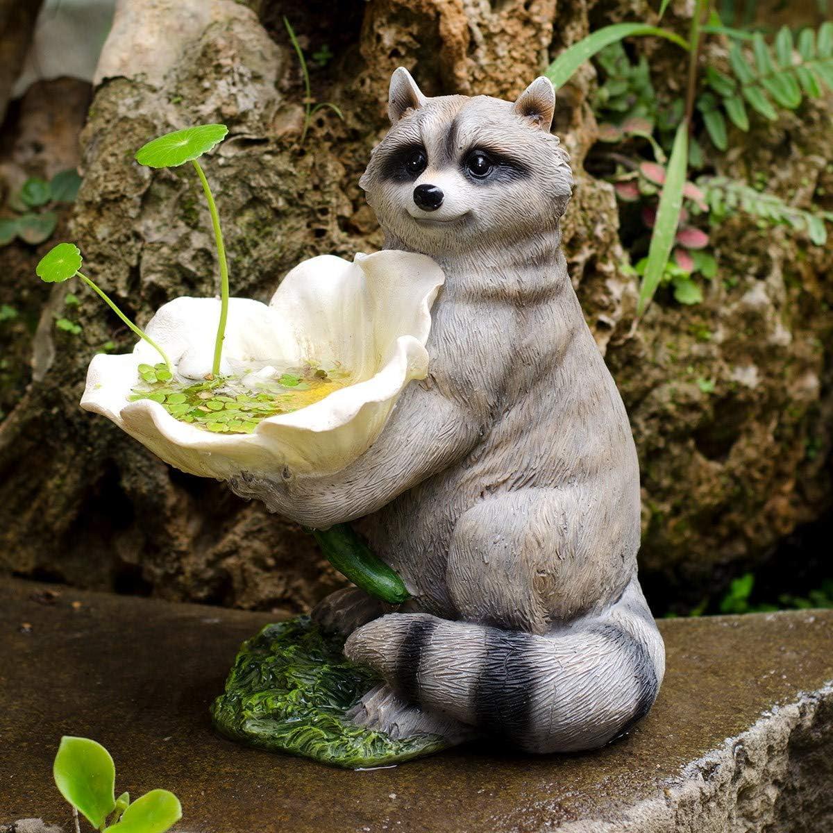 NBHUZEHUA Resin Raccoon Statue Wild Finch Bird Feeders for Gardern Lawn Outside Figurines Decor