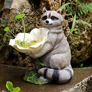 NBHUZEHUA Resin Raccoon Statue Wild Finch Bird Feeders for Gardern Lawn Outside Figurines Decor