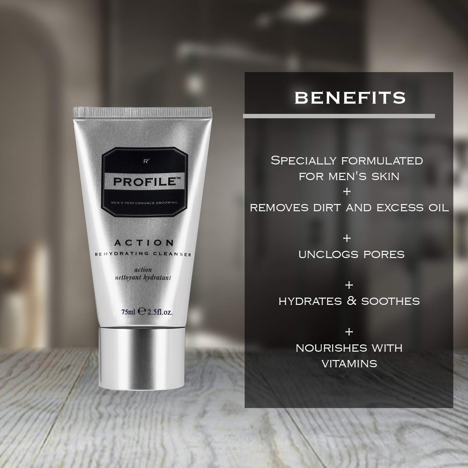 Profile ACTION Rehydrating Cleanser – for Men, Deep Clean Facial Hydrating Men s Face Wash with Aloe Vera 5 fl oz.
