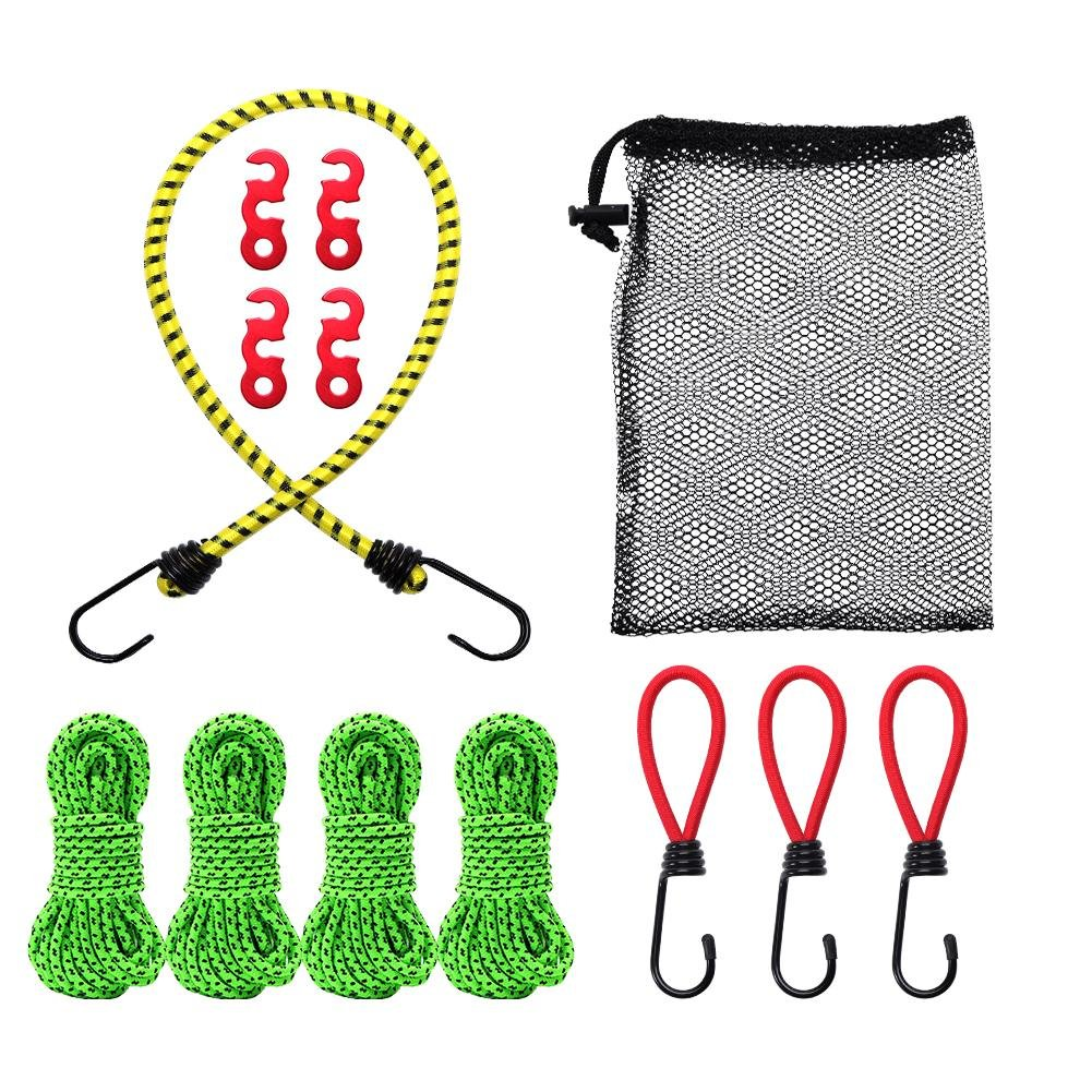 VGEBY Reflective Tent Guyline Rope Cord with Aluminum Adjuster, Elastic Rope Fixed Strap and Elastic Rope Hook Ties Stretch Piece of 13