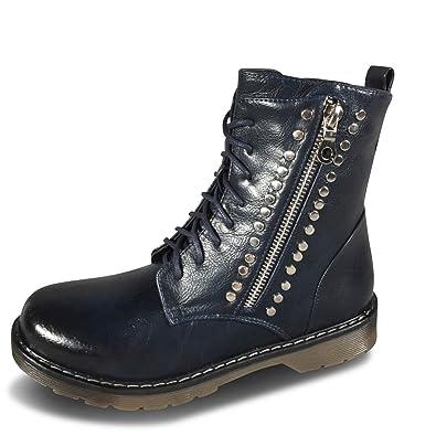 online retailer 96f1b b72ee Schuhtraum Damen Stiefeletten Nieten Boots Biker Worker Stiefel leicht  gefüttert ST012