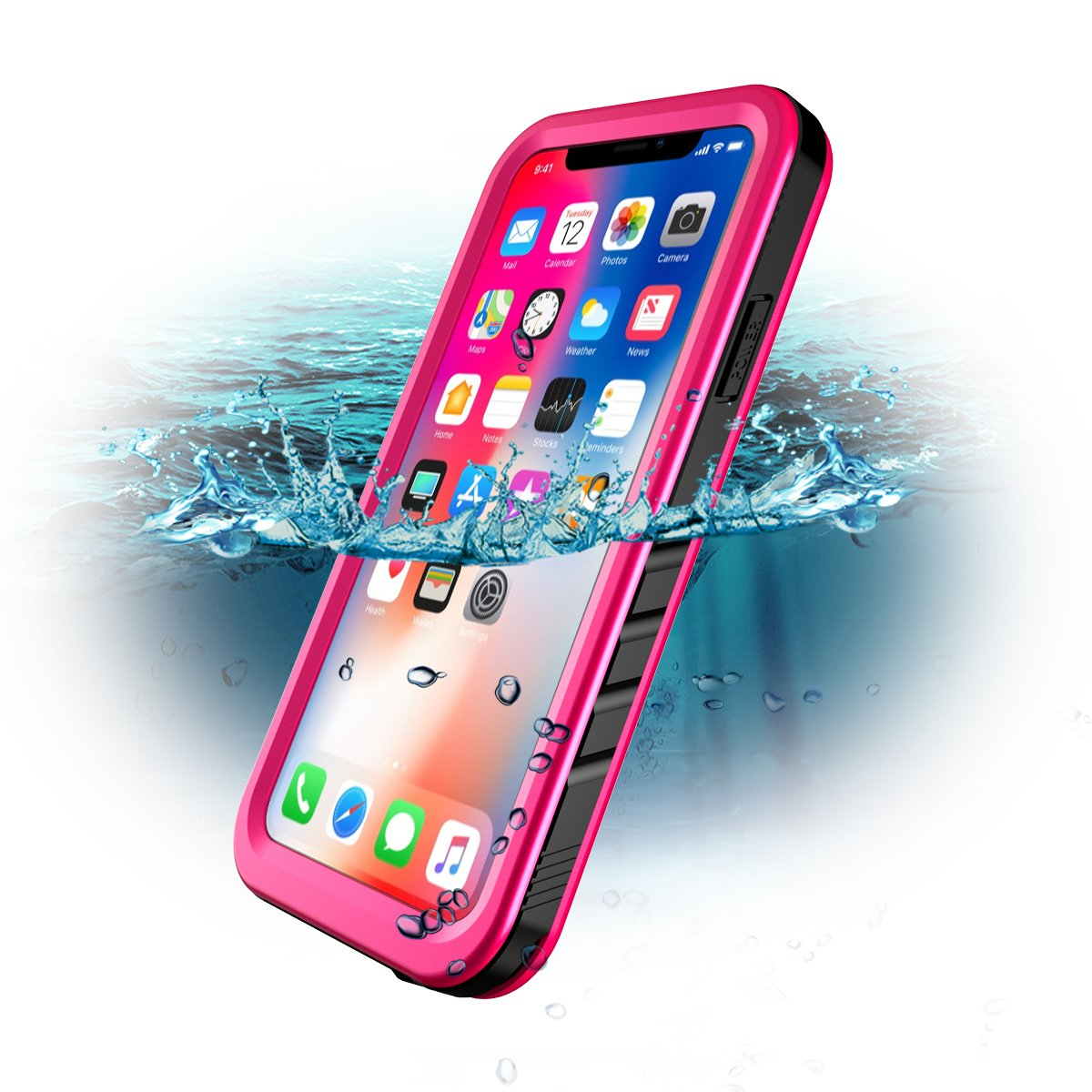 iPhone X Waterproof Case, Sportlink Wireless Charging Support Full Body Protective Rugged Case Shockproof with Built-in Screen Protector for Apple iPhone X 2017/iPhone 10 Release (Pink)
