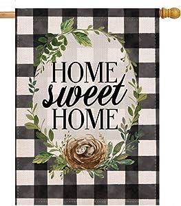 Furiaz Home Sweet Home Farmhouse Decorative House Flag, Fall Winter Buffalo Plaid Check Sign Outdoor Large Flag Black White Decor, Spring Summer Rustic Garden Yard Seasonal Outside Decorations 28 x 40