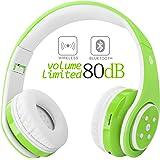 キッズワイヤレスBluetoothヘッドフォン子供調節可能なマイク、3.5ミリメートルオーディオジャックケーブル、FM、IphoneのためのFM、PCタブレットスマートフォン - Kiddylove (グリーン)