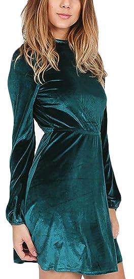 Mujer Vestido Coctel Cortas Vintage Terciopelo Línea A Vestido Lindo Chic Manga Larga Cuello Redondo Espalda