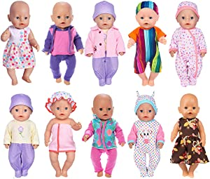 ebuddy 17pc/Set Doll Clothes with Hat and Coat for 43cm New Born Baby Dolls/15 inch Dolls