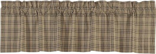 Charcoal Dark One Size VHC Brands Farmhouse Window Sawyer Mill Tan Curtain Panel Pair