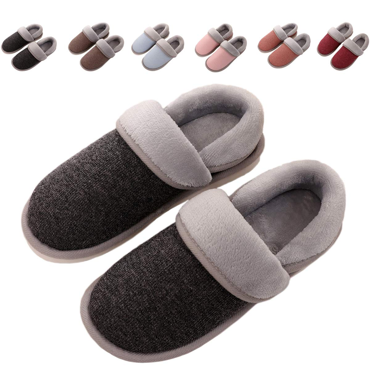 OOLIVUPF Womens Mens Cotton Slippers Memory Foam Plush Lining Slip-on House Shoes Indoor Outdoor(FBA) cottonslippers666