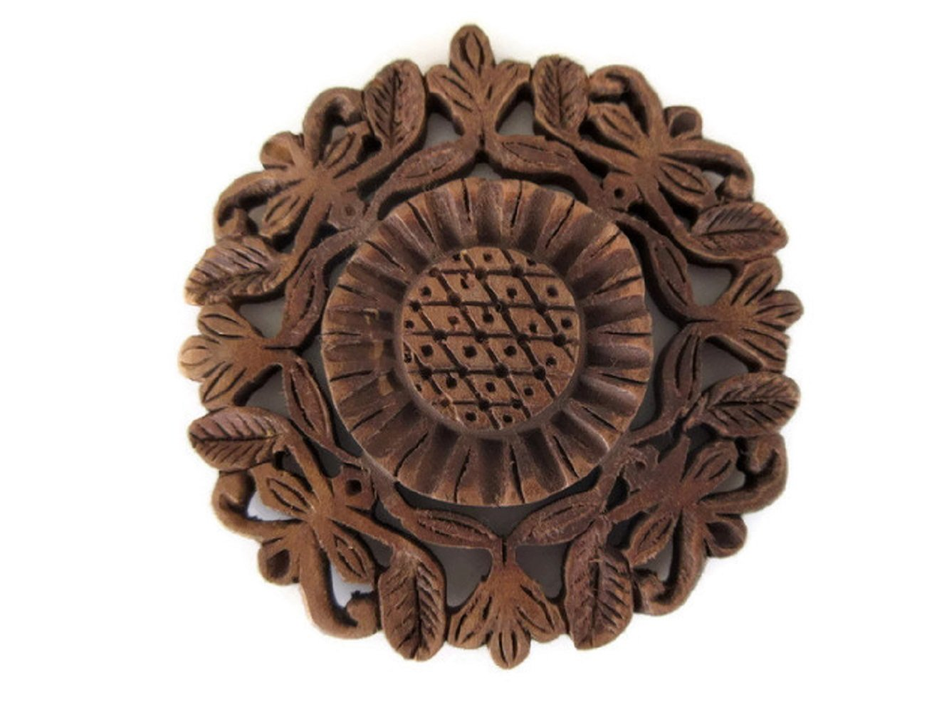 Hand Carved Wooden Sun Flower Pendant, Handmade Jharokha Pendant, Wood Art And Craft Framing Supplies Jewelry, GDS1046/7 (20 Pieces)