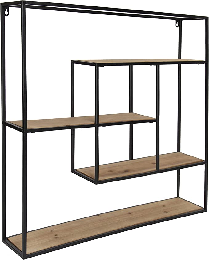 Kate And Laurel Ulna Large Modern Decorative Floating Wall Shelves With Black Metal Frame Rustic Brown Wood Furniture Decor Amazon Com