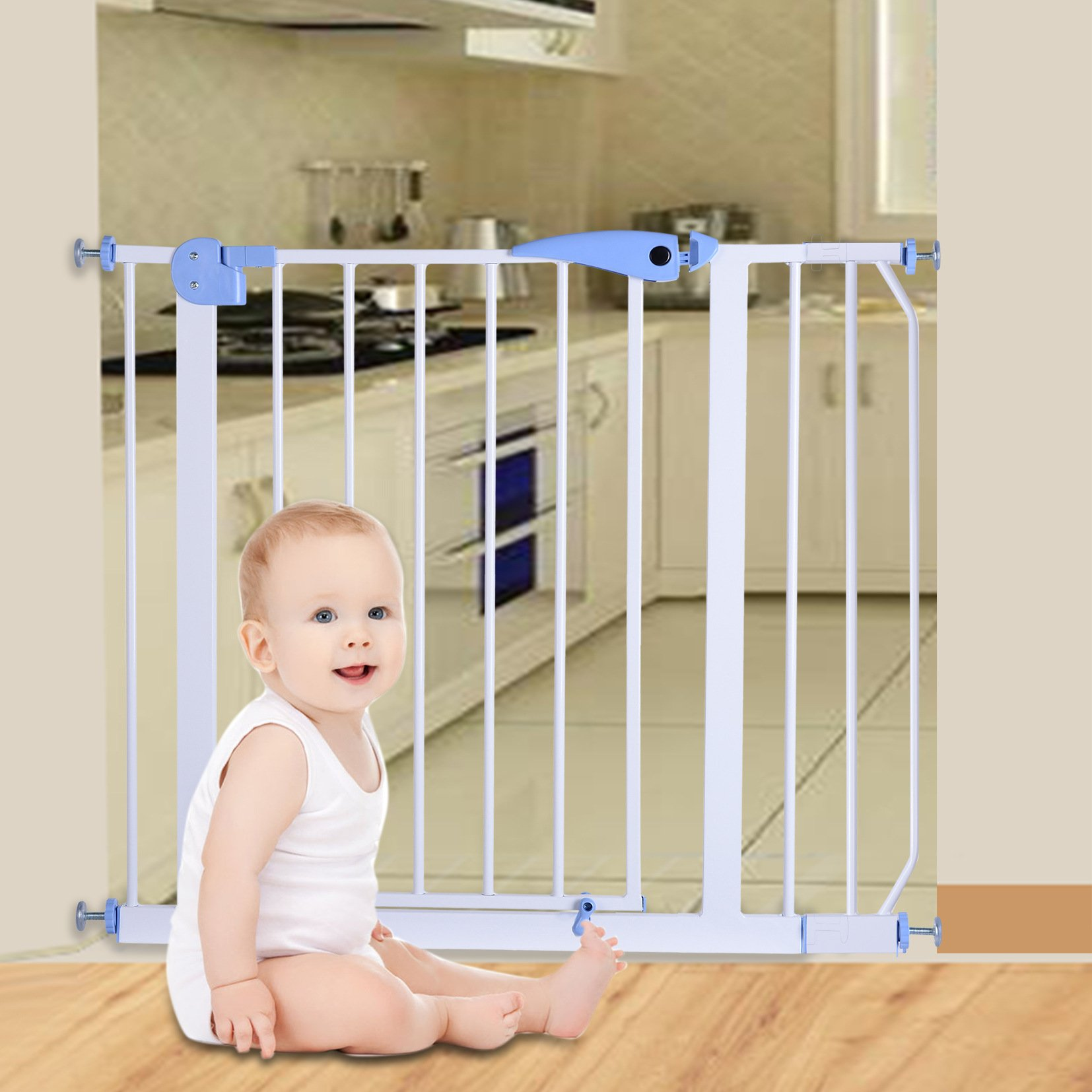 USA Youhome Easy Step Walk Thru Gate, White, Fits Spaces between 29'' and 39'' Wide