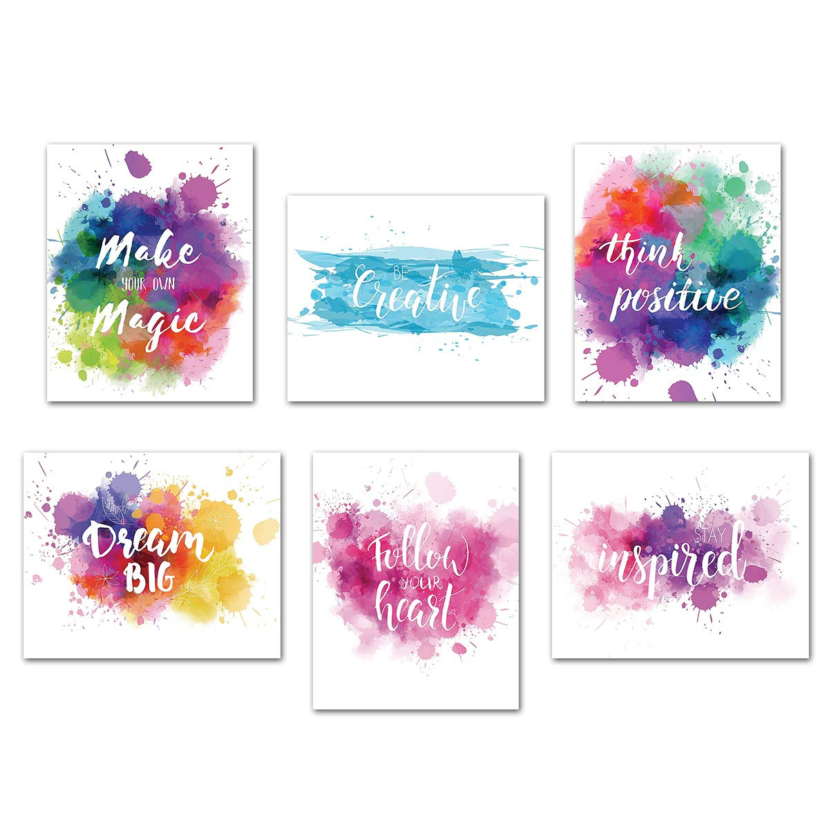 Inspirational Poster Motivational Wall Art - Creative Quotes for Home Office Watercolor Canvas Print Artwork Bedroom Decor 8x10 Inch Unframed Set of 6 Positive Words Sayings Painting Phrase Picture