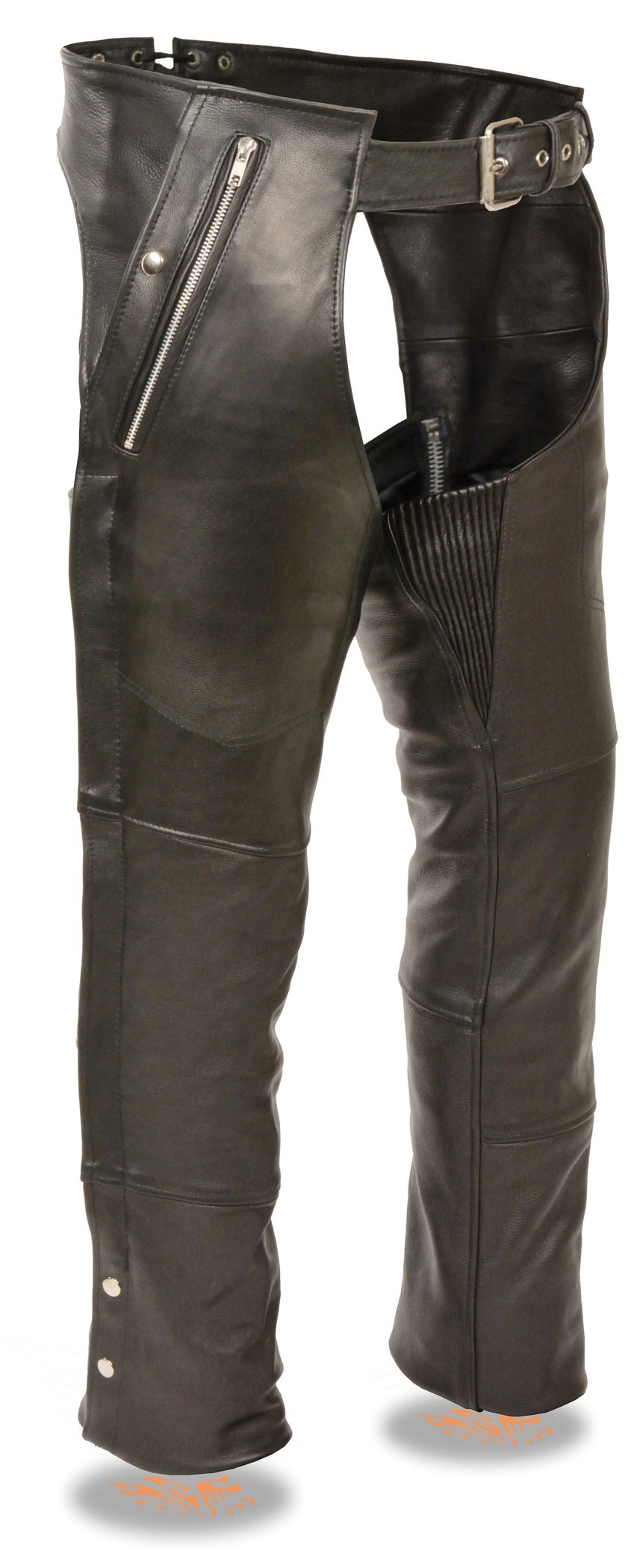 Milwaukee Leather Men's Four Pocket Thermal Lined Leather Chap (Black, 5X)