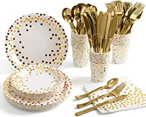 175 Piece Gold Party Supplies Set - Disposable Paper Dinnerware Serves 25 - Gold Dot Paper Plates Napkins Cups with Gold Plastic Silverware Sets for Wedding Bridal Shower Baby Shower Holiday Parties